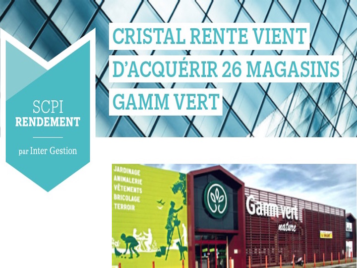 Cristal Rente vient d'acquérir 26 magasins Gam vert