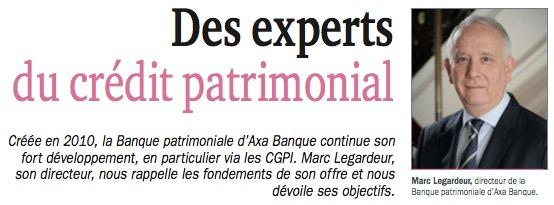Des experts du crédit patrimonial interview de Marc Legardeur