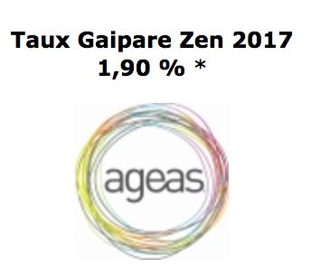 PERP GAIPARE  ZEN  performance du taux  fonds en euros 2017