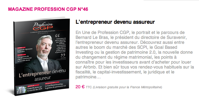 L'entrepreneur devenu assureur - MAGAZINE PROFESSION CGP N°46